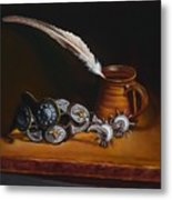Spurs And Hand Made Pottery And Feather Metal Print