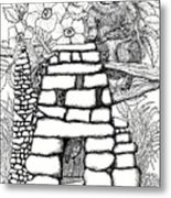 Square Rock Fairy House And Squirrel Metal Print