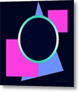 Squares And Triangle Subsumed By Circle Metal Print