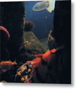 Squid And Fish Metal Print