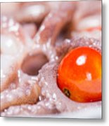 Squid Raw Cherry Tomatoes And Parsley Metal Print