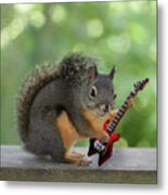Squirrel Playing Electric Guitar Metal Print