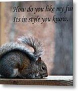 Squirrel With Fur Collar Metal Print