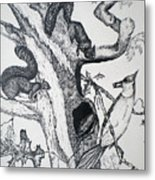 Squirrels And Bird Metal Print