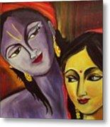 Sreekrishna With Radha Metal Print