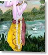 The Divine Flute Player, Sri Krishna Metal Print