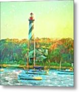 St Augustine Lighthouse Waterscaped Metal Print