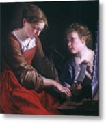 St. Cecilia And An Angel Metal Print by Granger