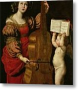 St. Cecilia With An Angel Holding A Musical Score Metal Print by Domenichino