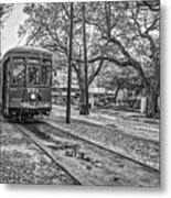 St. Charles Streetcar Monochrome Metal Print