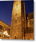 St. Elizabeth's Church Tower At Night In Wroclaw Metal Print