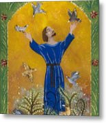 St. Francis And Birds Metal Print