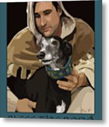 St. Francis With Greyhound Metal Print by Kris Hackleman