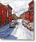 St Henri Depanneur Canadian Paintings Mini Montreal Masterpieces For Sale Petits Formats A Vendre  Metal Print