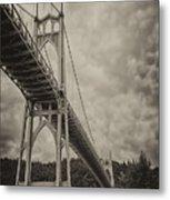 St. Johns Bridge In Black And White Metal Print