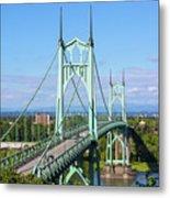 St Johns Bridge Over Willamette River Metal Print