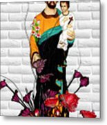 St Joseph Holding Baby Jesus - Catholic Church Qibao China Metal Print
