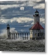 Big Waves - St. Joseph Lighthouse Metal Print