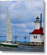 St. Joseph Lighthouse Sailboat Metal Print