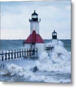 St. Joseph Lighthouse With Waves Metal Print