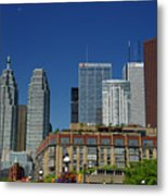 St Lawrence Market And Gooderham Flatiron Building With Cn Tower Metal Print