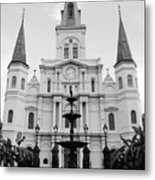 St Louis Cathedral And Fountain Jackson Square French Quarter New Orleans Black And White Metal Print