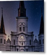 St. Louis Cathedral At Night Metal Print