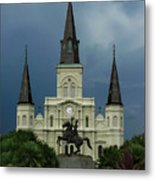 St Louis Cathedral In Jackson Square Metal Print