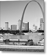 St Louis City Scape In Black And White Metal Print