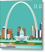 St. Louis Missouri Horizontal Skyline Metal Print