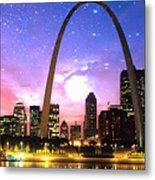 St Louis Skyline As Night Falls Metal Print