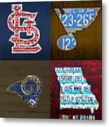 St Louis Sports Fan Recycled Vintage Missouri License Plate Art Cardinals Blues Rams Metal Print