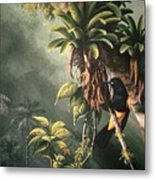 St. Lucia Oriole In Bromeliads Metal Print
