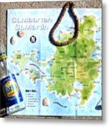St. Martin St. Maarten Map Metal Print
