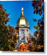 St Mary Atop The Golden Dome Of Notre Dame Metal Print