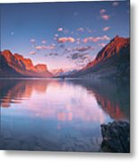St Mary Lake In Early Morning With Moon Metal Print
