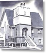 St Paul Lutheran With Ink Metal Print