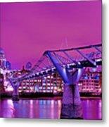 St Pauls And Millennium Bridge Over The River Thames Metal Print