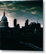 St Paul's Cathedral And Millennium Bridge In The Evening In London, England Metal Print