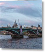 St. Paul's Cathedral Behind The Southwark Bridge During Sunset Metal Print