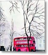 St Pauls Cathedral In The Mist  Metal Print