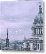 St Pauls Snow Metal Print