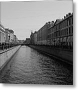 St Petersburg Waterway - Black And White Metal Print
