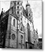 St Stephens Cathedral Vienna In Black And White Metal Print