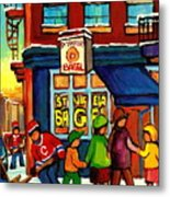 St. Viateur Bagel With Hockey Metal Print