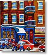 St Viateur Bagel With Hockey Montreal Winter Street Scene Metal Print by Carole Spandau