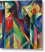 Stables By Franz Marc Bright Painting Of Horses In A Stable Metal Print