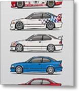 Stack Of Bmw 3 Series E36 Coupes Metal Print