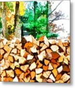 Stacked Fire Wood In Preparation For Winter 1 Metal Print