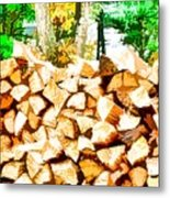 Stacked Fire Wood In Preparation For Winter 2 Metal Print